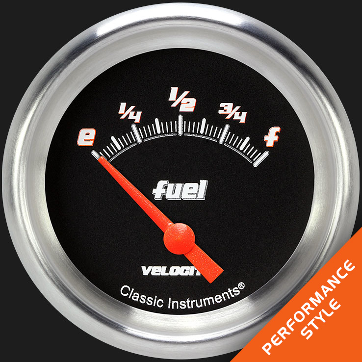 "Picture of Velocity Black 2 5/8"" Fuel Gauge, 0-30 ohm"