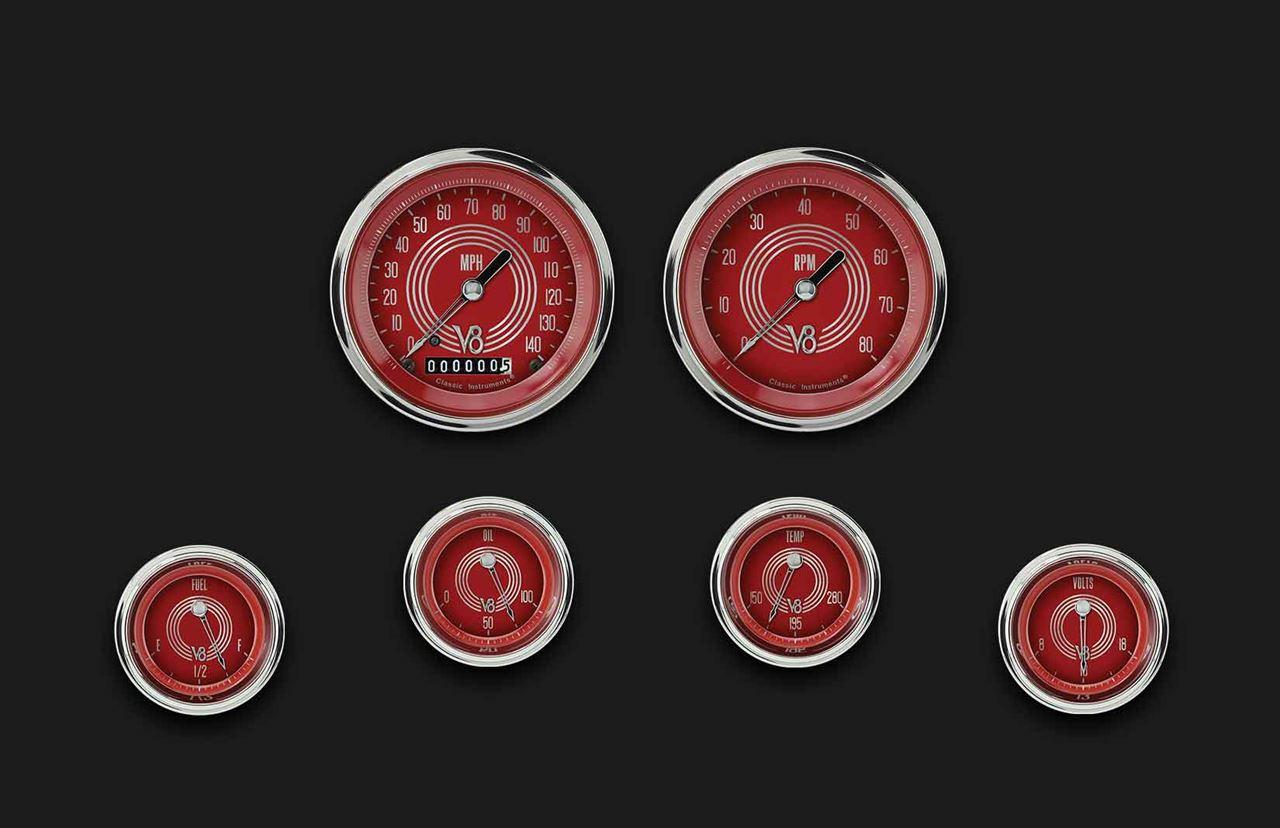 Picture of V8 Red Steelie Six Gauge Set 01
