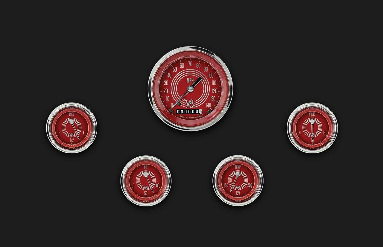 Picture of V8 Red Steelie Five Gauge Set 00