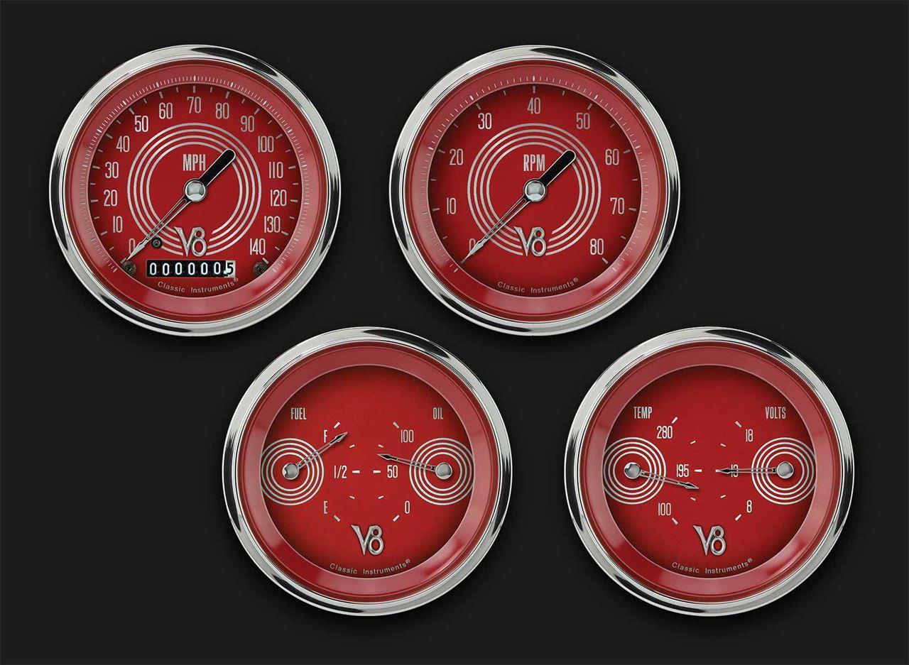 Picture of V8 Red Steelie Four Gauge Set 05