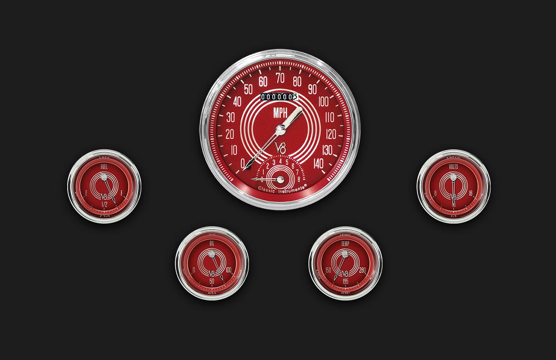 Picture of V8 Red Steelie Five Gauge Set 65