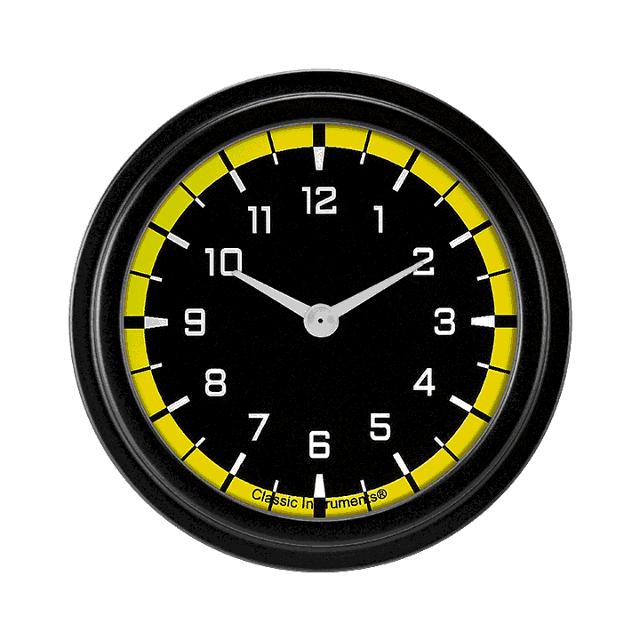 """Picture of AutoCross Yellow 2 5/8"""" Clock"""