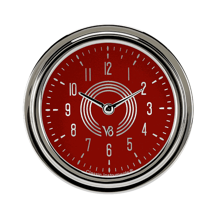 "Picture of V8 Red Steelie 2 5/8"" Clock"