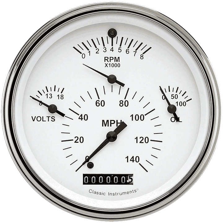 Picture of Tetra Series, White Combination Gauge