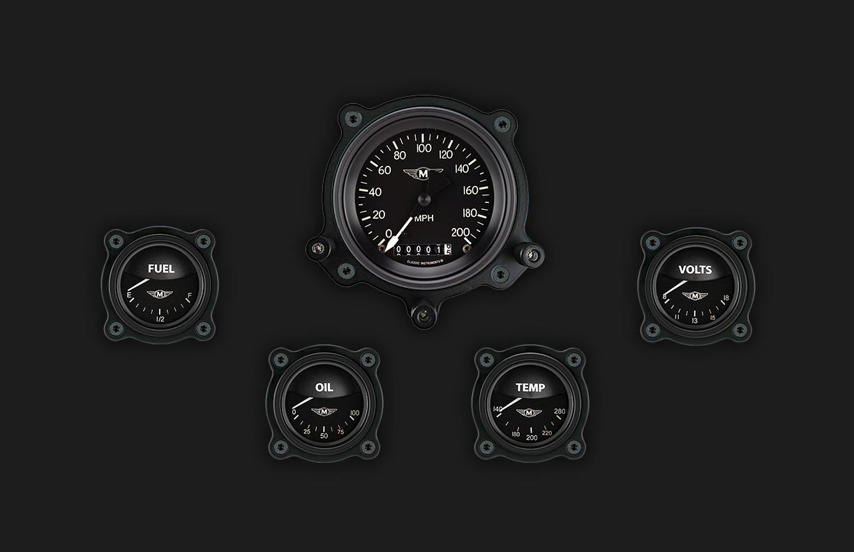 Picture of Moal Bomber Series Five Gauge Set with Bomber Bezels