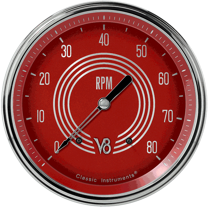 """Picture of V8 Red Steelie 4 5/8"""" Tachometer"""