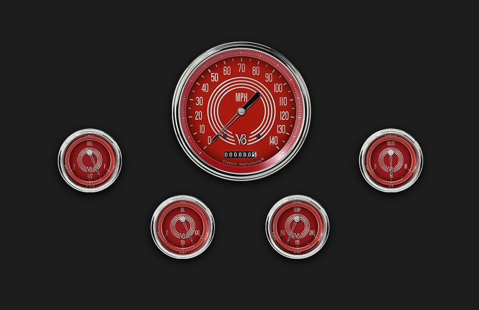 Picture of V8 Red Steelie Five Gauge Set 54