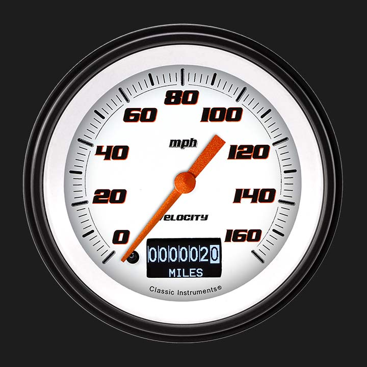"""Picture of Velocity White 3 3/8"""" Speedometer with Information Screen"""