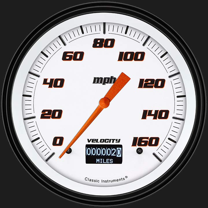 """Picture of Velocity White 4 5/8"""" Speedometer  with Information Screen"""