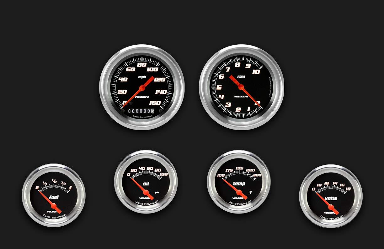 Picture of Velocity Black Six Gauge Set 201, Aluminum Performance Bezel