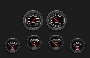 Picture of Velocity Black Six Gauge Set 201, Black Performance Bezel