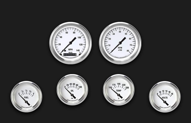 Picture of White Hot Six Gauge Set 201, Aluminum Performance Bezel