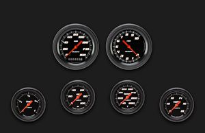 Picture of Velocity Black Six Gauge Set 301, Black Performance Bezel